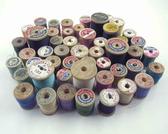 Vintage Assorted Wooden Thread Spools With Thread Set of 50 Lot A