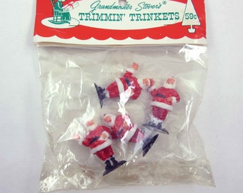 Vintage Set of 4 Miniature Plastic Santas for Holiday Crafting by Grandmother Stover's
