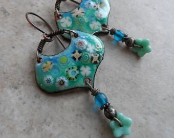 Sea Life ... Artisan-Made Enameled Copper, Glass Headpins with Tinwork and Copper Boho, Floral, Garden, Beachy Earrings