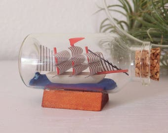 Mini Ship in a Bottle Miniature 1:12 Ship in Bottle Beach House Decor Adventurer Decor Small Ship Boat in Bottle Red and Blue Mini Decor