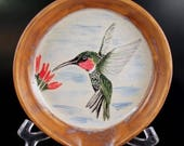 Wheel Thrown Pottery Stoneware Spoon Rest Hand Painted Ruby Throat Hummingbird