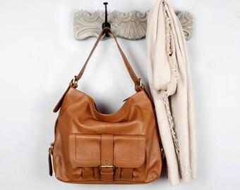 Leather Handbag, Purse Pocket Tote Bag, Brown, Tan
