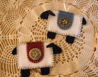 Penny Rug Wool Sheep Christmas Ornaments