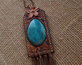 Long Turquoise Necklace - Tooled Leather - Copper Flower - Cowgirl Jewelry - Fringe - Copper Chain - Boho Necklace by Heart of a Cowgirl