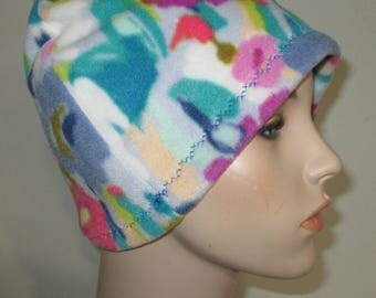 Chemo  Anti Pill Fleece Hat, Floral Print Winter Hat, Cancer, Chemo Hat, Alopecia