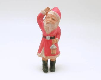 Vintage Christmas Decoration Celluloid Santa Figurine