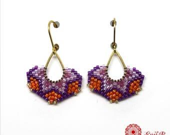 Boucles d'oreilles tissées Miyuki, boucles d'oreilles gouttes,Brickstitch, boucles laiton et rocailles, dormeuses, violet lilas orange