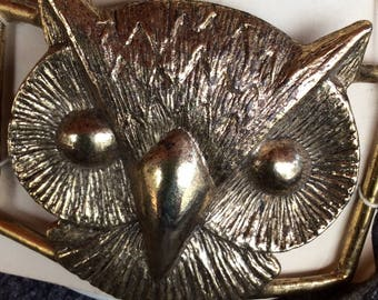 New Old Stock - Large Brass Owl Buckle - On Orig La Mode Card
