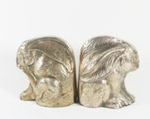 Brass Rabbit Bookends - Bunny Decor