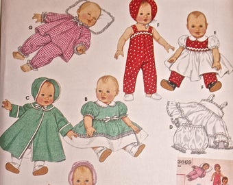 Simplicity Archives Doll Clothes Pattern 4707 For Babies and Toddlers, Includes 3 Sizes New Unused Damaged Envelopes