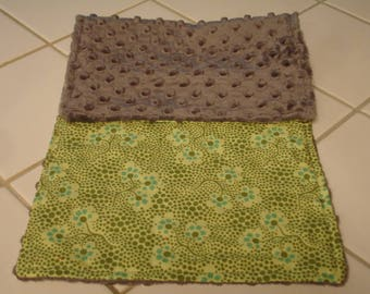 Forget Me Not in Olive Baby Burp Cloth 9 x 20 READY TO SHIP