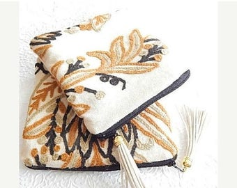 CLEARANCE - Upholstery pouch, curry crewel purse, embroidered purse, zipper pouch, lined clutch, fashion accessory, womens accessory
