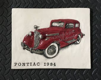 1934 Pontiac Classic Car CERAMIC tile sculpture 3D Art Tile Plaque Functional ART by Sondra Alexander Made to Order