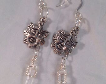 Clear Quartz crystals with Green Man charms, earrings
