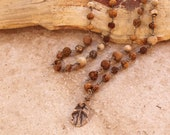 Sacred Earth Mala + Prayer Beads + Meditation + Spirituality + Wood, Seeds and Stone + Joined With Silver + Fossil Talisman + Spirit Beads