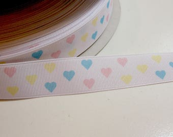 Hearts Grosgrain Ribbon 7/8 inch wide, Pastel Hearts Ribbon