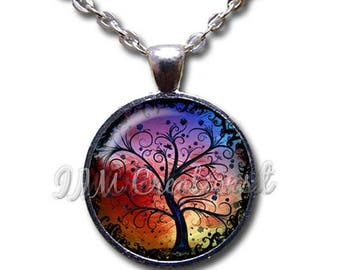 25% OFF - Tree of Life Glass Dome Pendant or with Chain Link Necklace NT149