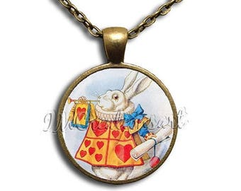 25% OFF - Alice In Wonderland White Rabbit - Round Glass Dome Pendant or with Necklace by IMCreations -  AW112