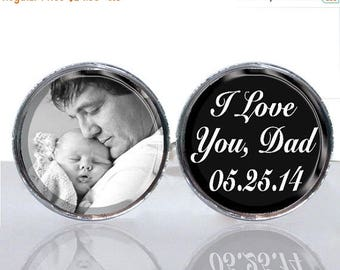 25% OFF - Round Glass Tile Cuff Links - Personalized Photo Birthdate CIR144
