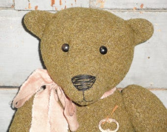 Jointed Bear Old Green Wool Army Blanket | Primitive Handmade Bear | Hand Sewn Jointed Bear