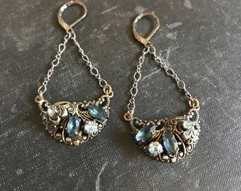 Deep Pools Vintage Repurposed Earrings West German Filigree Blue