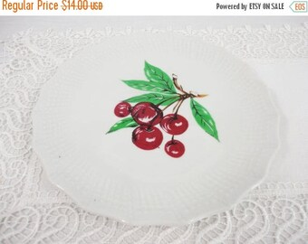 CLEARANCE 50% OFF - Vintage Cherry Plate with Textured Border