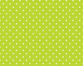 15% OFF Riley Blake Basic White Swiss Dots on Lime