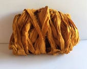 Silk Sari Ribbon-Recycled Orange Gold Sari Ribbon-10 Yards