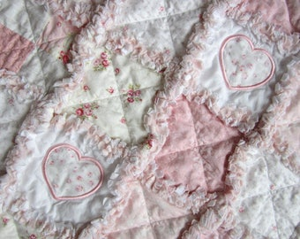 Floral Baby Quilt | Cottage Chic Baby | Baby Girl Quilt | Applique Baby Quilt | Roses Baby | Rag Quilt