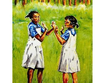 Island Art - Wall Art - Bahamas Art - Girls Playing on the School Yard - Andros Island, Bahamas - Original Oil Pastel