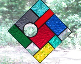 Stained Glass Suncatcher - Abstract -Multi-colored with Clear Bevels