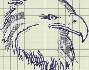 Eagle Head Embroidery Design