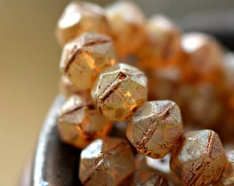 Brown Sugar - Premium Czech Glass Beads, Translucent Champagne, Luster, Picasso Finish, English Cut, Facet Rounds 10mm - Pc 6