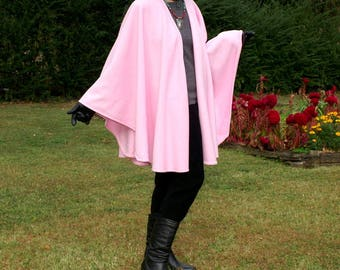 Pink Celebrate Life Anti Pill Fleece Wrap, Cape, Shawl or Poncho--Lightweight Warmth--Soft and Cuddly--One Size Fits Most