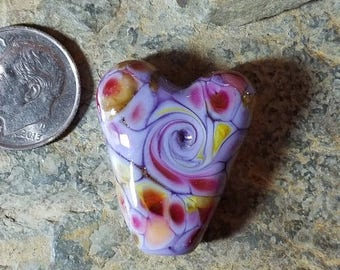 50% Off Purple heart glass lampwork focal bead Item #2274