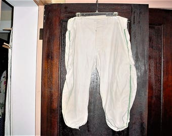 Vintage 50s White Flannel Baseball Uniform Pants Green Stripe 40 in Waist As Is