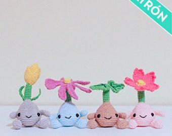 Patrón Crochet, Mandrágoras, Semillas de flores, PATRÓN ESPAÑOL, PDF, Plantas, Flores Primavera, Feliz, Amigurumi