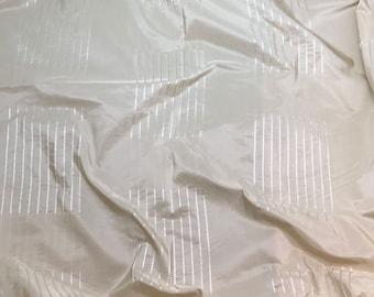 Silk Taffeta Fabric - Cream Embroidered Stripes - fat 1/4
