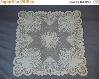 20% Sale - Antique Lace Piece, 29x30 inches, Appliques & Embroidered Tulle Lace, As Is with Damage, 1900s, Scarf, Edwardian Decor