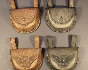 Formed Leather Pouch for Plague Doctor Costume in brown