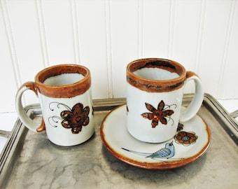 vintage ken edwards stoneware mugs tonala mexico blue bird saucer