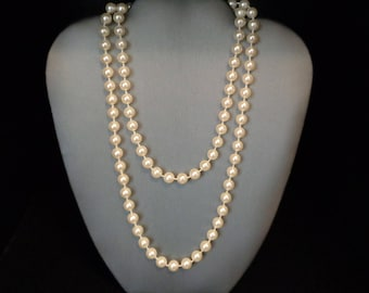 "Faux Pearl 36"" Necklace - Vintage - Cream Color Faux Pearls"