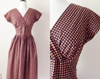 1950s Vintage Dress - 50s Floral Print Cotton Wrap Dress