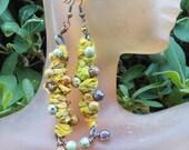 Antique Sari Silk & Copper Earrings