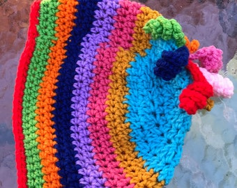Rainbow Crochet Curlicue Baby Hat Toddler  Curlicues on top 12-18 Months