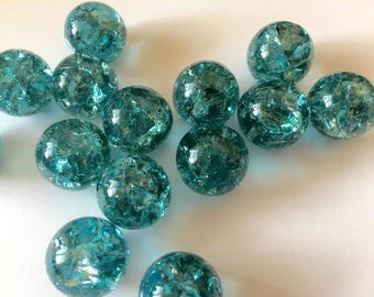 14mm LIGHT TEAL Crackled Glass Marbles 10 pieces Cracked Pendant Making Visual Art