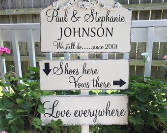 WEDDING SIGN PACKAGE | Shoes Here | Vows There | Love Everywhere | Beach Wedding Signs