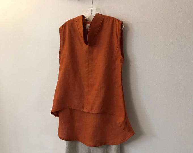 ready to wear rust linen sleeveless wavy end top size S or M / sleeveless linen top / rust linen vest / gift for her  / made in USA