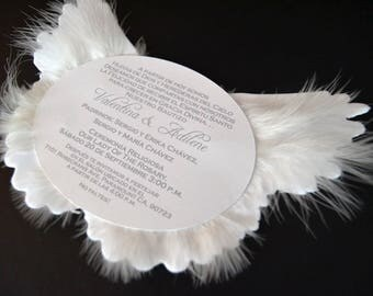 40 Angel Wing Invitations and 40 Seating Cards