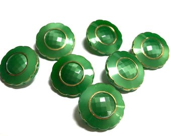 Group Of Seven Matching Green Glass Buttons With Gold Luster - Le Chic